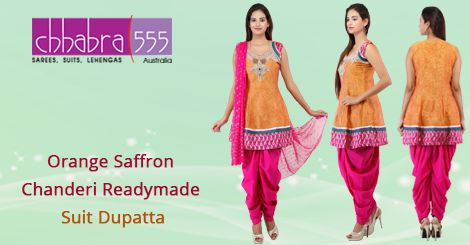 Buy Orange Saffron Chanderi Readymade Suit Dupatta from ‪‎Chhabra555‬ @ $169.95 AUD in ‪#‎Australia‬ and get ‪‎free shipping‬ for orders of $75 and more.