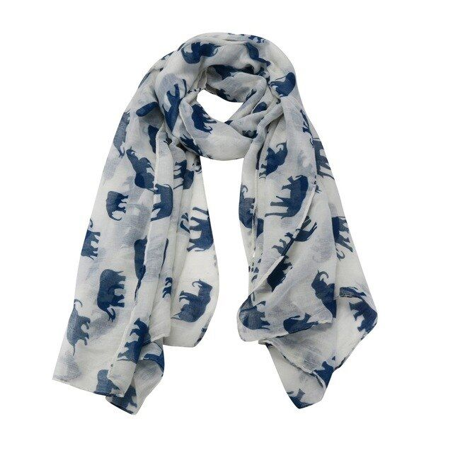 Lady scarf vintage scarves casual long cute elephant print scarf wraps shawl soft scarves bufanda mujer n