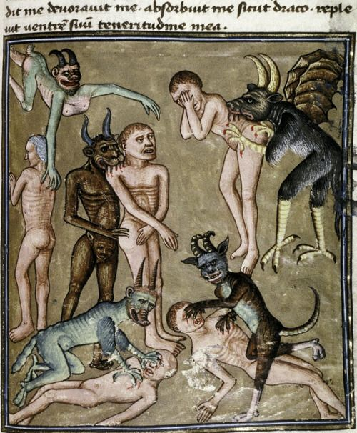 Devils bite and scratch the damned. Livre de la Vigne nostre Seigneur. France, c. 1450-1470. Bodleian Library, MS. Douce 134, f. 100r