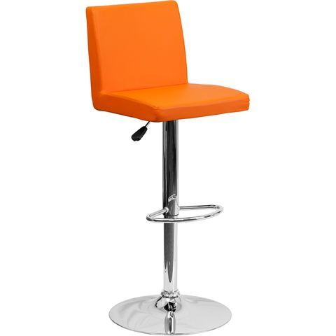 Contemporary Orange Vinyl Adjustable Height Barstool with Chrome Base - by Flash Furniture