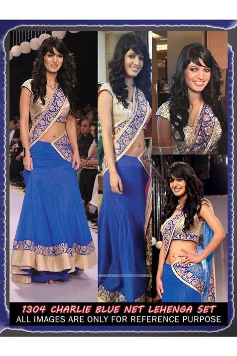Vibrant Charlie Chauhan Blue Bollywood Replica Lehenga Choli
