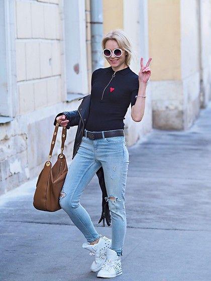 Get this look: http://lb.nu/look/8658189  More looks by Marina Skater: http://lb.nu/afinaskaterlookbook  Items in this look:  Zara Jeans, Monki Glasses, Ash Sneakers, Marks&Spencer Top, Replay Jacket