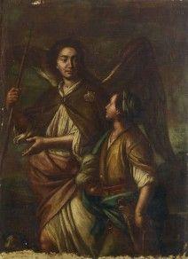 Scuola napoletana, seconda metà XVII - prima metà XVIII secolo - Blindarte shop. Old master. Painting. Angel. Masters. Naples school. Eighteen century.