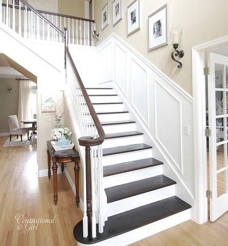 Another Crisp, Elegant Staircase--dark, polished tops, white underside; wainscoting along wall; sconce and picture frames to accessorize.