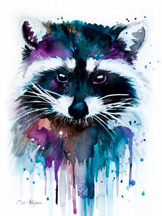 Raccoon by Slaveika Aladjova | Raccoon watercolor painting print, Raccoon art, animal watercolor, animal illustration, Raccoon illustration, Raccoon poster, art print. Click through for prints of this artwork (cards, phone cases etc.)!