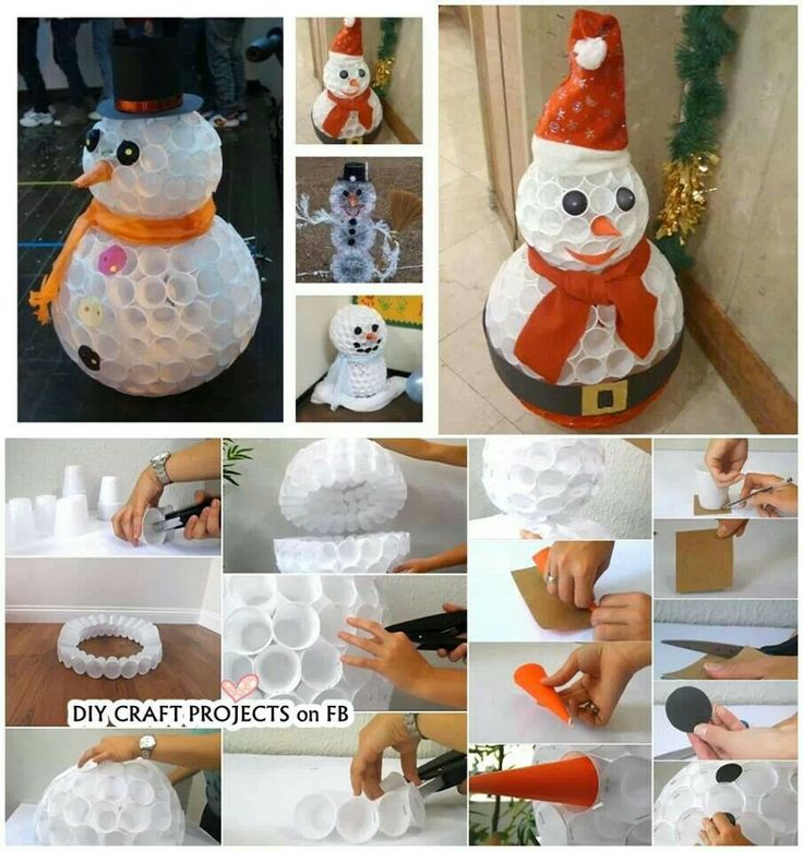 snowman made from plastic cups diy craft ideas