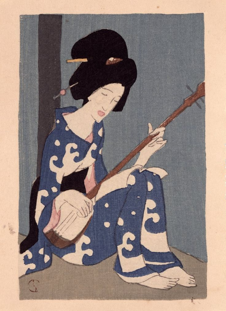 Takehisa Yumeji: Shamisen gusa (Shamisen Leaves) - British Museum