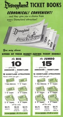 remembering the E rides in these old Disneyland tickets.  Living in Calif. when I was 5/6 years old.  I remember using these and we'd always have some tickets left over.  Wow.  This brings back memories.
