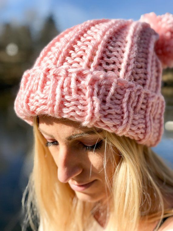 a0a312ba27d MADE TO ORDER Pink Slouchy Beanie Womens Knit Hat Chunky