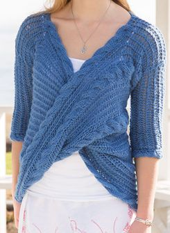 Knitting Pattern for La Cruz Top - I love the striking twisted wrapped front on this lace openwork pullover sweater with cables. Woman's S through 3XL