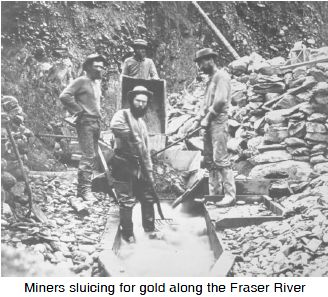 miners mining for gold on fraser river