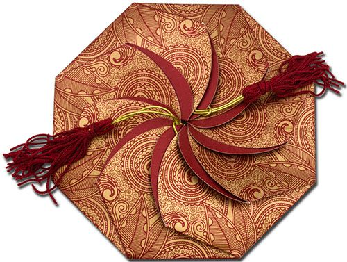 A fascinating octagon shape metallic invitation, which opens like a lotus. It contains nice flowery prints on top along with tassels and having nice die cut inserts in octagon shape…Its really pretty..!