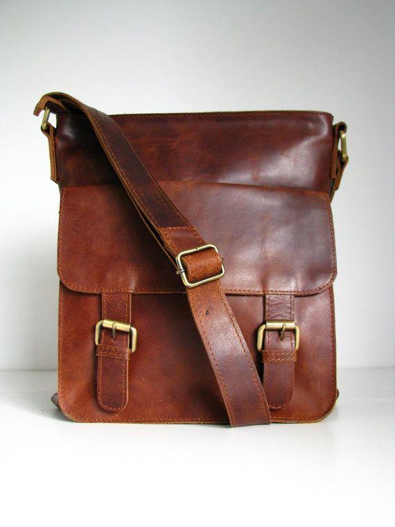Leather Messenger Bag Shoulderbag Handbag Brown door TheLeatherStore