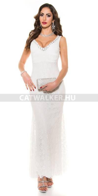 Estélyi ruha csipkés, gyöngyökkel díszített K9108 - fehér