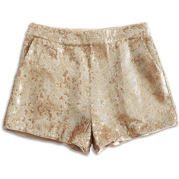 Lucky Brand Sequin Short (165 RON) ❤ liked on Polyvore featuring shorts, bottoms, short, shorts/skirts, lucky brand shorts, sequin shorts, short shorts, gold short shorts and gold shorts