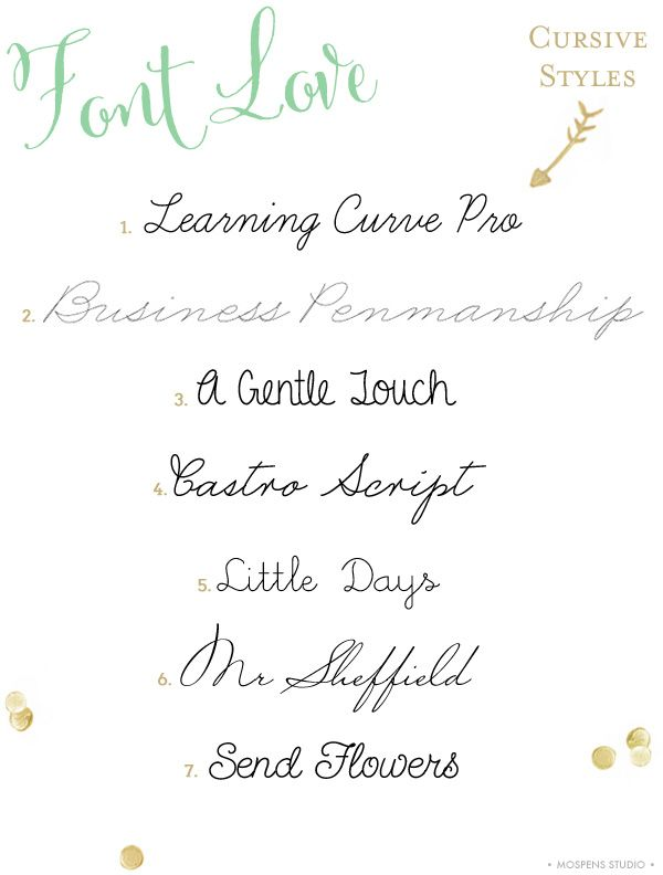 Lovely cursive style handwriting fonts | Mospens Studio