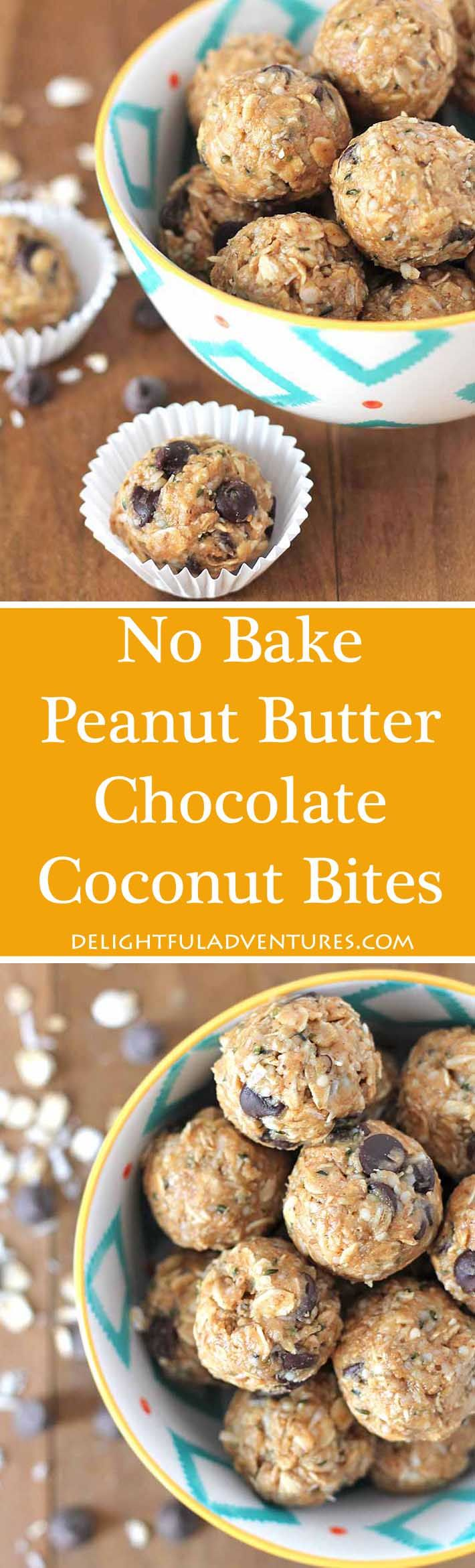 Craving something sweet but healthy? Then grab one of these easy No Bake Peanut Butter Chocolate Coconut Bites. They're quick to make and they're delicious! #nobake #peanutbutter #veganglutenfree #glutenfreevegan #vegansnacks #glutenfreesnacks via @delighfuladv