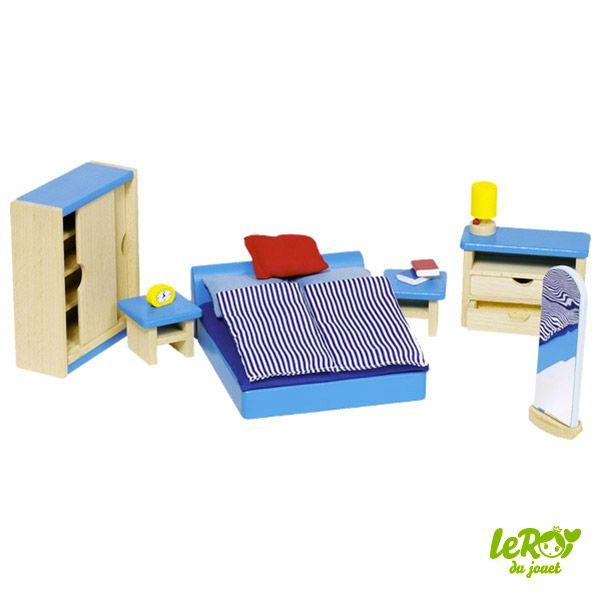 Mobilier pour maison de poupées en bois ou Playmobil Chambre à coucher en bois Leroy du jouet