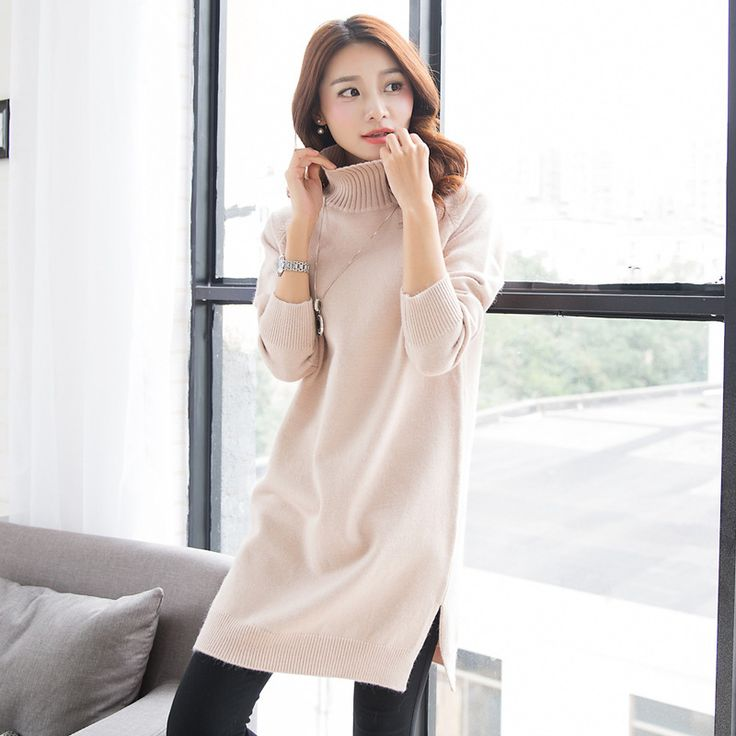 Autumn winter women sweater Knitted Pullover Turtleneck Thicken Korean version Loose Solid color Vintage free shipping,Y91D