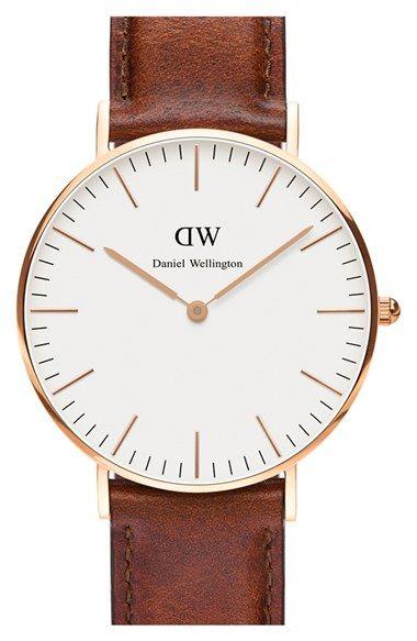 Daniel Wellington 'Classic St. Mawes' Leather Strap Watch