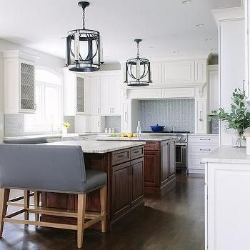 Side by Side Kitchen Islands with Gray Leather Benches
