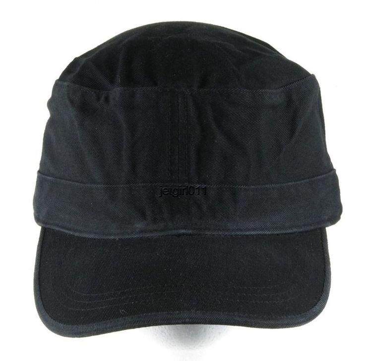 military baseball hat velcro caps cap flat top cadet black adjustable