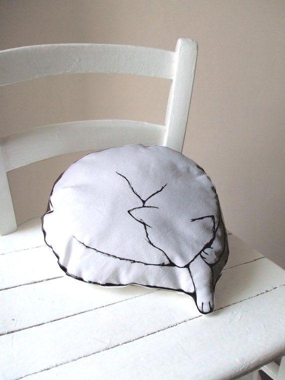 pillow CAT SLEEPING shaped hand painted drawn cute WHITE cotton organic vegan fabric toy decorative pillows