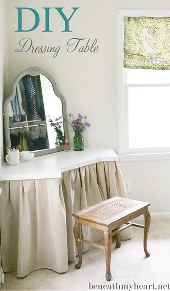 DIY~ Dressing table. I'm really just pinning this for the idea of putting a skirt around the built-in vanity.