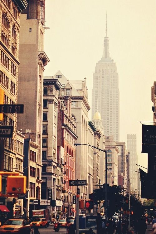 New York City street with view of the Empire State Building