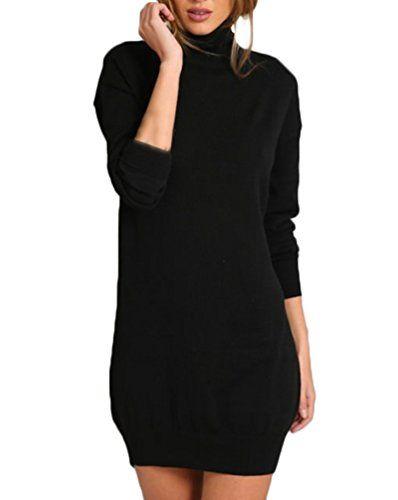 Vestiti Donna Eleganti Corti Pacchetto Hip Tubino Manica Lunga Collo Alto  Moda Chic Ragazza Puro Colore ac046339ec1