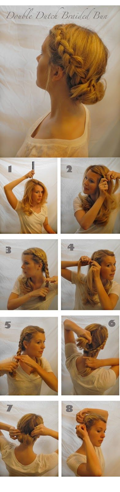 Double Dutch Braided Bun Hair Tutorial