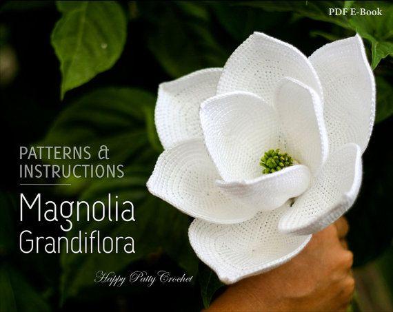 Patrón de la flor del Magnolia - Magnolia Grandiflora - flor de la boda de ganchillo - ganchillo flor patrón de ganchillo de crochet