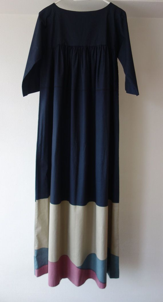 Mint condition 1977 vintage Marimekko dress seventies oversized tent dress full length dark blue marine M L cotton mid century modern