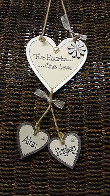 Personalised hanging heart wedding / engagement gift plaque sign / shabby chic