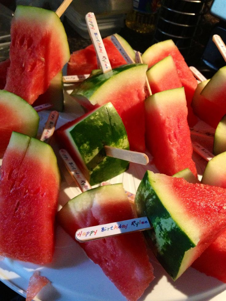 Watermelon pops the healthy alternative to classroom birthday treats. Made these for my soon to be 3 year olds daycare class room :). So easy, cheap and healthy!
