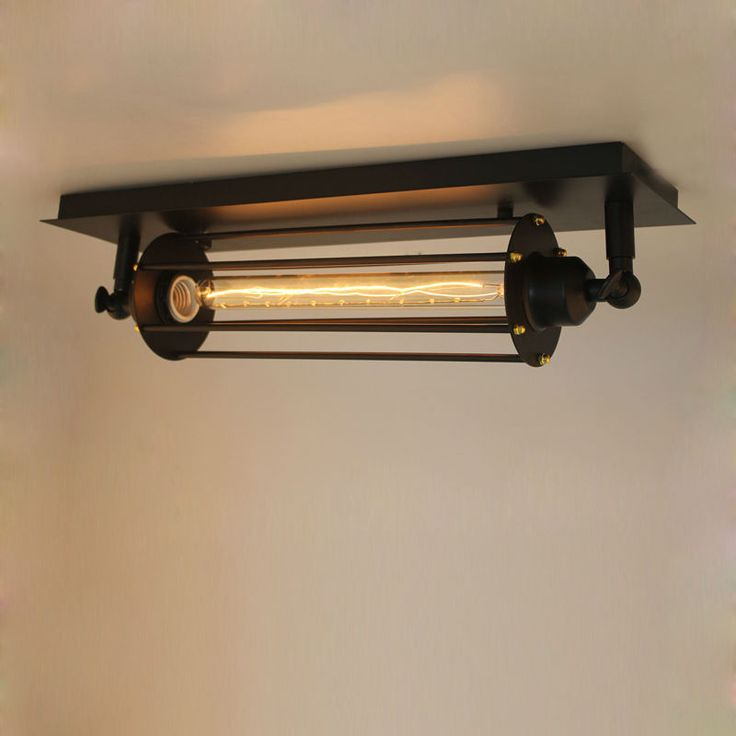 Village retro ceiling lights american industrial lamp with for Long ceiling light fixture