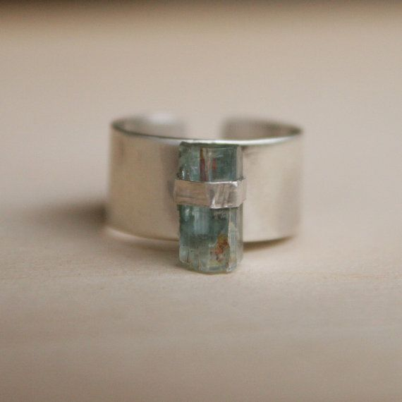 Raw Stone Ring, Sterling Silver, Aquamarine Jewelry, Blue Stone Ring, Natural, Adjustable, Metalwork