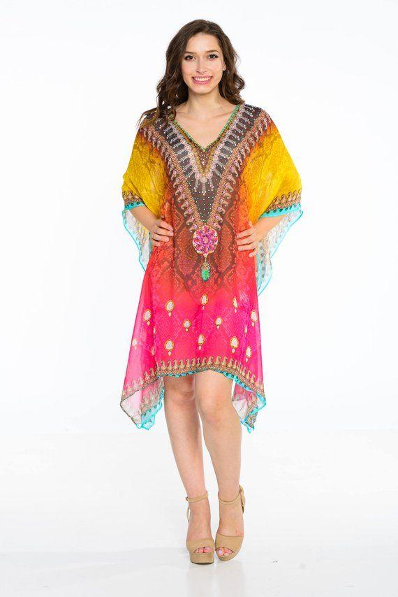 7e629c814ae womens kaftan, holiday dress, short kaftan, magenta, caftan dress, poncho, tunic  dress, swimsuit coverups #BeachKaftan #HolidayDress #boho #KaftanDress ...