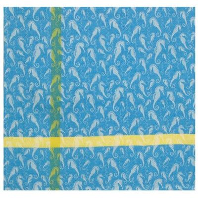 Traders and Company Seahorse Peacock 100% Cotton Tablecloth