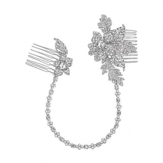 Weave rhinestones and pearls throughout your hair with this enchanting headband, hair comb combination. You will look like a Greek goddess with these shimmering laurels pinned behind your ears. This would look especially romantic with an empire waist gown!Presented in Roman