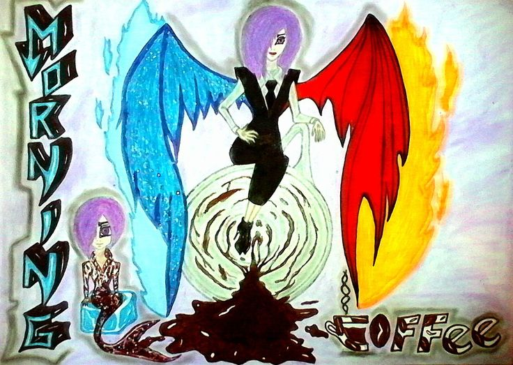 •••Touka with Angel-Demon Wings with Chibi Touka as a mermaid(Coffee-Mermaid Touka XDlol) REQUEST•••