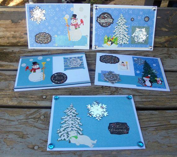 Silver Snowflakes  set of 5 handmade cards by RogueKissedCraft