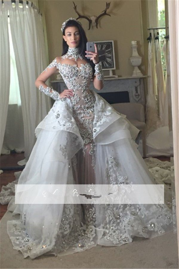 luxury high neck bridal gowns appliques tulle wedding dresses