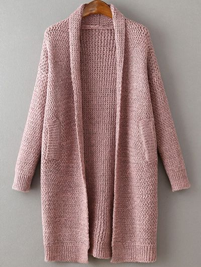 Pockets Solid Color Collarless Long Sleeve Cardigan PINK: Sweaters | ZAFUL