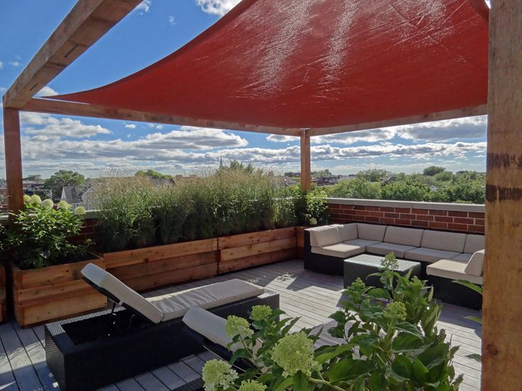 Roof Deck Pergola Shade Sail Urban Landscape Garden Design Outdoor