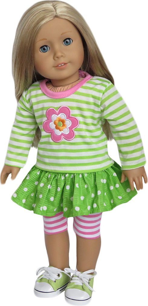 Silly Monkey - Lime Striped Flower Top, Dot Skirt, and Pink Striped Leggings, $18.99 (http://www.silly-monkey.com/products/gymboree-american-girl-doll-outfit1.html)