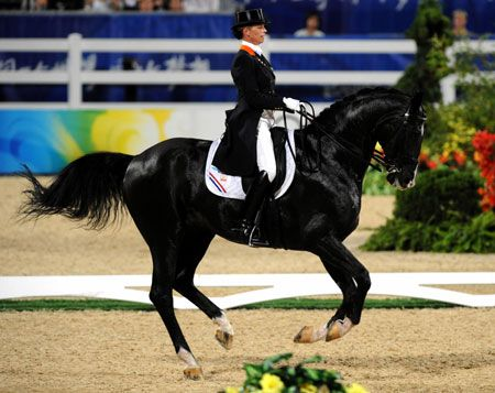 Netherlandish rider Anky Van Grunsven rides her horse Salinero during the dressage individual grand prix freestyle of the Beijing 2008 Olympic Games equestrian events in Hong Kong, China, Aug. 19, 2008. Anky Van Grunsven won the gold medal of the event with the score of 78.680. (Xinhua/Lo Ping Fai)