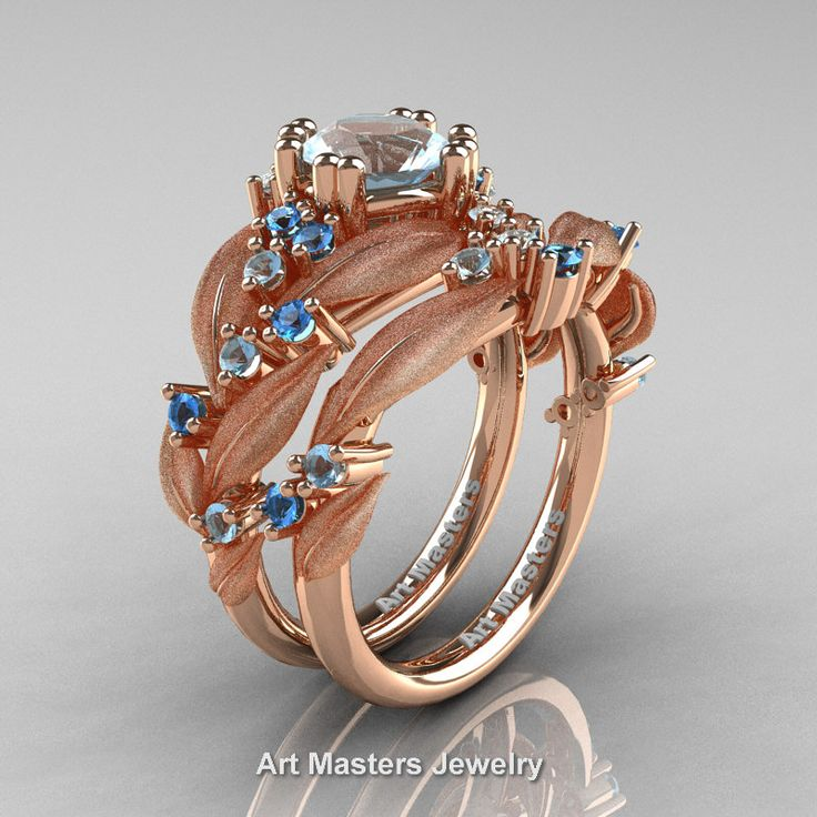 Nature Classic 14K Rose Gold 1.0 Ct Aquamarine Blue Topaz Leaf and Vine Engagement Ring Wedding Band Set R340SS-14KRGBTAQ | Art Masters Jewelry