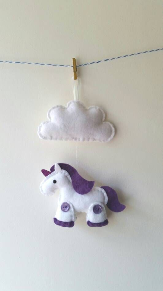 Felt Unicorn Plush with glittery horn and Cloud by GracesFavours