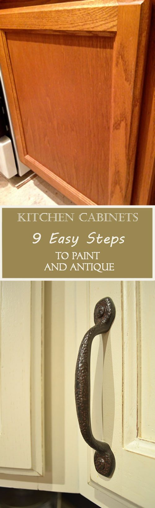 Paint your kitchen cabinets in 9 easy steps. Distress the cabinets for shabby look.